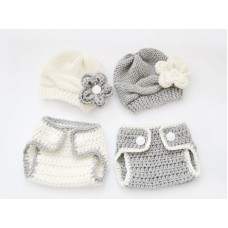 Twin hats and diaper covers set, Twin crochet baby set, Newborn twin sets