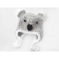 Koala crochet baby hat, Newborn koala hat, Baby koala ear flap hat