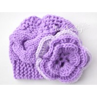 Purple knit girl hat, Flower knit hat newborn, Tinysmiley