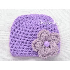 Wool newborn girl beanie, Crochet baby hat, Lavender baby girl hat