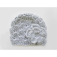Gray crochet baby girl wool hat
