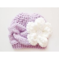 Purple knit girl hat, Flower knit hat newborn, Tinysmiley