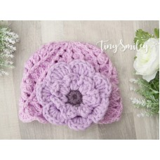 Crochet lilac girl hat with flower, Purple baby girl hat, Tinysmiley