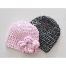 Hand crocheted twin boy girl hats, Violet Dark gray twin baby hats