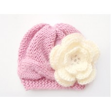 Wool mauve girl hat newborn, Cable knit baby girl beanie, Mohair flower hat