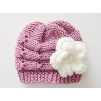 Mauve cable baby knit hat, Mauve newborn girl hat, Mauve baby hat wool