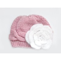 Wool cable hat girl mauve beanie, Knit baby hat newborn girl, Hat mohair flower