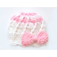 Crochet mohair newborn girl hat, Mohair girl hat with pink bow