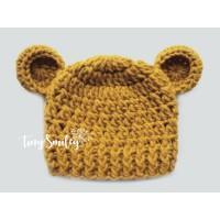 Mustard  wool baby crochet hat, Bear ears beanie winter