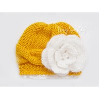 Mustard wool baby girl hat, Knit lace newborn girl beanie, Tinysmiley