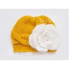 Mustard cable knit baby girl hat