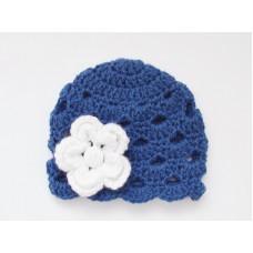 Navy baby girl crochet hat with flower