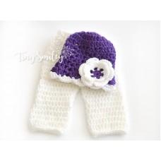 Newborn girl set, Baby girl set, Crochet hat and pants baby set