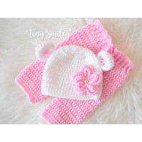 Baby bear set, Baby set bear ears hat and pants, Newborn crochet set, Newborn bear set, Bear set baby girl, Newborn girl outfit, Pink baby girl set, Sets baby girl, Hospital baby set