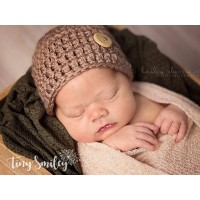 Brown newborn boy beanie, Winter boy crochet hat, Wool baby boy hat outfit