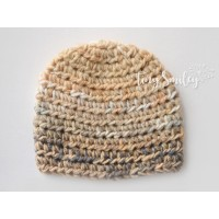 Beige newborn boy crochet hat, Baby boy hat, Winter newborn boy outfit