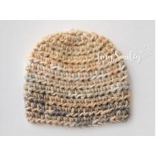 Beige newborn boy crochet hat, Baby boy hat, Winter newborn boy outfit