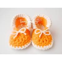 Crochet baby booties newborn, Baby boots orange, Girl boy newborn booties
