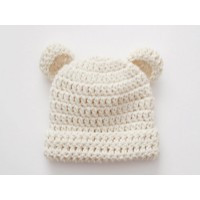 Wool baby bear hat with ears, Baby girl boy bear hat, Tinysmiley