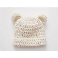 Wool baby bear hat with ears, Baby girl boy bear hat, Tinysmiley
