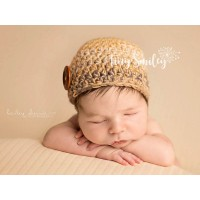 Newborn crochet boy hat, Beige baby boy beanie, Winter baby hats, Baby boy hat