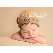 Newborn crochet boy hat, Beige baby boy beanie, Winter baby boy hats