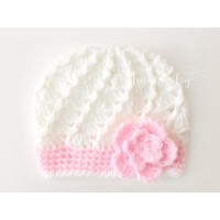Flower crochet girl hat, Cream baby girl hat, Crochet girl hat with flower