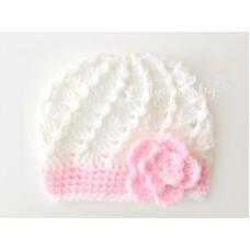Flower crochet girl hat, Cream baby girl hat, Crochet girl hat with flower
