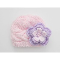Pale pink knit baby beanie, Girl cable newborn hat with large flower