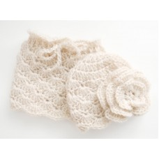 Newborn mohair baby set, Hat and skirt girl set, Baby girl knit outfit