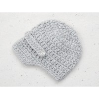 Boy crochet newboy hat, Gray newsboy baby cap, Infant boy hats, Hats for boys