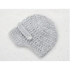 Boy crochet newboy hat, Gray newsboy baby cap, Infant boy hats, Hats for boys