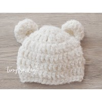 Bear newborn crochet hats,  Crochet cream bear hat, Winter boy girl bear outfit