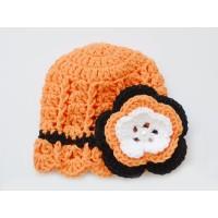 Orange newborn girl hat, Flower crochet girl hat, Baby girl hand crocheted hats