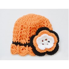 Orange newborn girl hat, Flower crochet girl hat, Baby girl hand crocheted hats