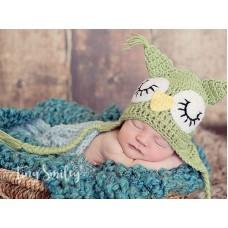 Girl boy baby hat owl, Green ear flap owl beanie, Crochet earflap hat owls