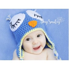 Blue owl newborn boy girl hat, Crochet owl baby hat, Tinysmiley