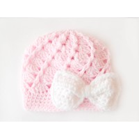 Pink crochet baby girl beanie, Pink baby girl hat, Crochet girl newborn girl  hat