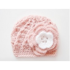 Wool baby girl hat, Crochet baby girl hat, Newborn girl wnter hat with flower
