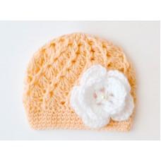 Orange baby girl flower hat