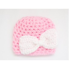 Pink bow crochet baby girl beanie, Baby girl hat, Crochet girl  take home outfit