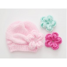 Cable flower knit girl hat, Baby girl wool beanie, Tinysmiley
