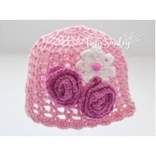 Crochet baby hat, Baby girl pink hat, Newborn girl beanie, Flower girl cotton hat