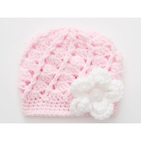 Pale pink baby girl hat, Newborn girl beanie, Winter baby girl hat, Tinysmiley