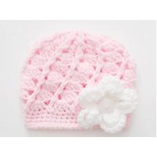 Pale pink baby girl hat, Newborn girl beanie, Winter baby girl hat, Tinysmiley