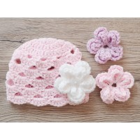 Girl infant baby hat with interchangeable flowers, Crochet girl hat removable flowers