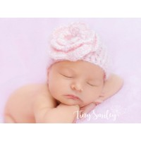 Flower pink hat for baby girl, Tinysmiley