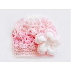 Pink striped girl hat with flower, Baby girl crochet beanie