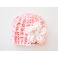 Pink baby girl beanie, Pink flower baby girl hat, Newborn girl hat pink