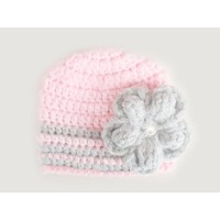 Pink baby girl crochet beanie with gray flower, Tinysmiley
